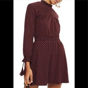 TOPSHOP Spotted Shirred Waist Mini Dress NWOT